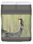 White Throated Kingfisher Duvet Cover