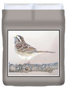 White-throated Sparrow Looking Skyward Duvet Cover