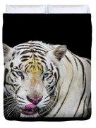 White Tiger Closeup Duvet Cover