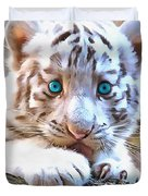 White Tiger Cub Duvet Cover