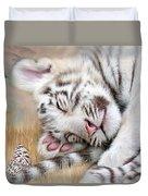 White Tiger Dreams Duvet Cover by Carol Cavalaris
