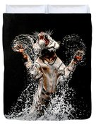 White Tiger Jumping In Water Duvet Cover