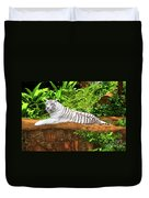 White Tiger Duvet Cover by MotHaiBaPhoto Prints