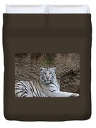 White Tiger Resting Duvet Cover
