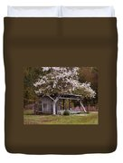White Tree And Old Barn Duvet Cover