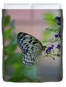White Tree Nymph Polinating Purple Flowers Duvet Cover