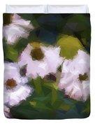 White Triangle Flowers Duvet Cover
