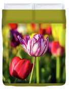 White Tulip Flower With Pink Stripes Duvet Cover