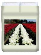White Tulip Rows Duvet Cover