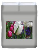 White Tulip With A Green Stripe In A Garden Duvet Cover