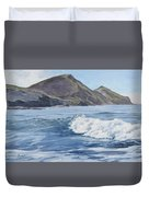 White Wave At Crackington  Duvet Cover