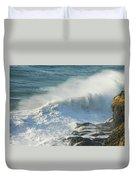 White Wave Sprays Duvet Cover