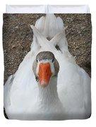 White Wild Duck Sitting On Gravel Duvet Cover