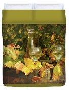 White Wine And Grape In Vineyard Duvet Cover