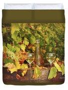 White Wine And Vineyard Autumn Season Duvet Cover