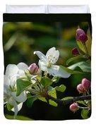 White Woodland Crabapple Flowers Duvet Cover