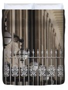 White Wrought Iron Gate In Chicago Duvet Cover