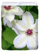 White, Yellow, And Purple Clematis Blossom Duvet Cover