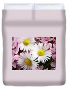 White Yellow Daisy Flowers Art Prints Pink Blossoms Duvet Cover
