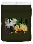 White Yellow Orchids Duvet Cover