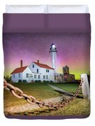 Whitefish Point Lighthouse   Northern Lights -0524 Duvet Cover