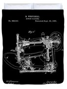 Whitehill Sewing Machine Patent 1885 Black Duvet Cover
