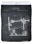 Whitehill Sewing Machine Patent 1885 Chalk Duvet Cover