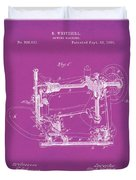 Whitehill Sewing Machine Patent 1885 Pink Duvet Cover
