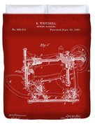 Whitehill Sewing Machine Patent 1885 Red Duvet Cover