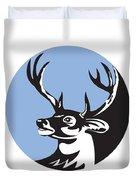 Whitetail Deer Buck Head Circle Retro Duvet Cover