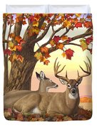 Whitetail Deer - Hilltop Retreat Duvet Cover by Crista Forest