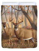 Whitetail Deer Painting - Fall Flame Duvet Cover by Crista Forest