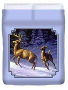 Whitetail Deer Painting - Startled Duvet Cover