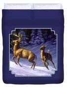 Whitetail Deer Painting - Startled Duvet Cover by Crista Forest