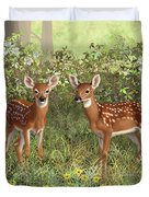 Whitetail Deer Twin Fawns Duvet Cover by Crista Forest