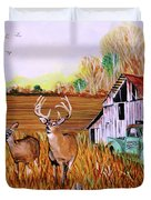 Whitetail Deer With Truck And Barn Duvet Cover