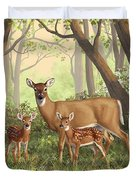 Whitetail Doe And Fawns - Mom's Little Spring Blossoms Duvet Cover