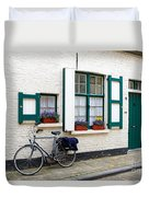Whitewashed Brick House With Green Trimmed Shutters In Bruges Duvet Cover