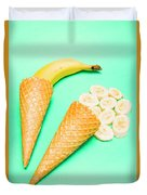 Whole Bannana And Slices Placed In Ice Cream Cone Duvet Cover