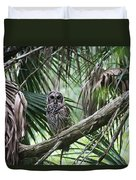 Whoooo Are You Duvet Cover by April Wietrecki Green