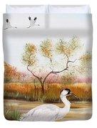 Whooping Cranes-jp3152 Duvet Cover