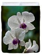 Whte Orchids Duvet Cover