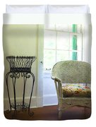 Wicker Chair And Planter Duvet Cover