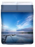 Wide Angled Sunset Over Moosehead Lake Duvet Cover