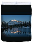 Wide Shuksans Last Light Reflected Duvet Cover