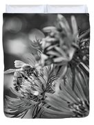 Wild Aster And Honey Bee Bw Duvet Cover