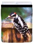 Wild Birds - Downy Woodpecker  Duvet Cover