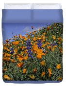 Wild California Poppies And Lupine Duvet Cover