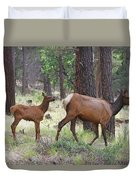 Wild Elk Baby And Mom Duvet Cover