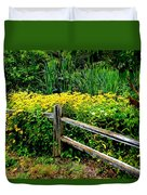 Wild Flowers And Fence Duvet Cover